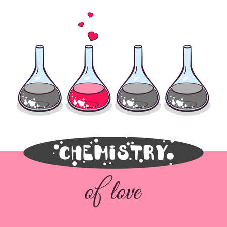 a substance vial: Hand drawn beakers with hearts on white background. Chemistry of love. Vector illustration.