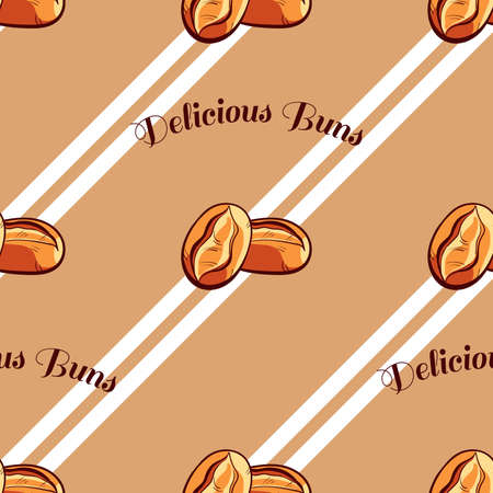 buns: Seamless pattern made from hand drawn buns and text on brown background. Illustration
