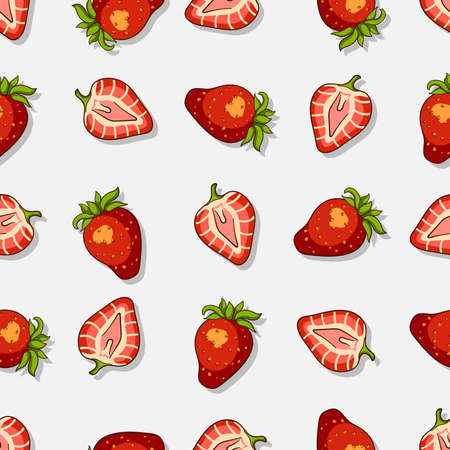 strawberry cartoon: Seamless pattern made from hand drawn strawberries. Vector illustration. Illustration