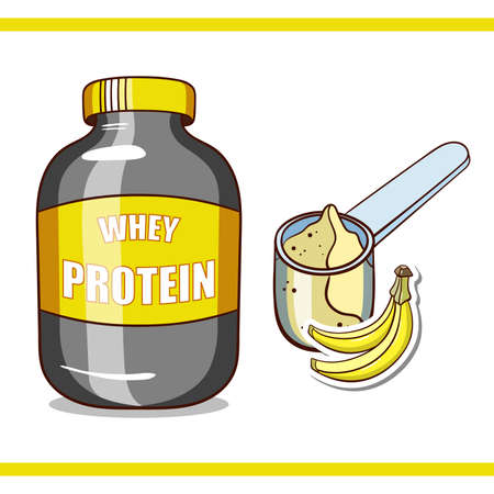 plastic scoop: Plastic jar and scoop with banana whey protein on white background. Sport nutrition. Vector illustration. Illustration