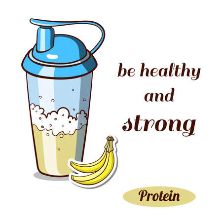 SHAKER: Sport nutrition. Protein shaker isolated on white background. Banana protein powder. Vector illustration. Illustration