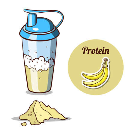 protein: Sport nutrition. Protein shaker isolated on white background. Banana protein powder. Vector illustration. Illustration