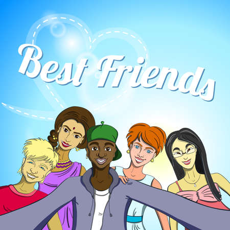 multiracial: Hand drawn multiracial group of friends taking selfie. Vector illustration