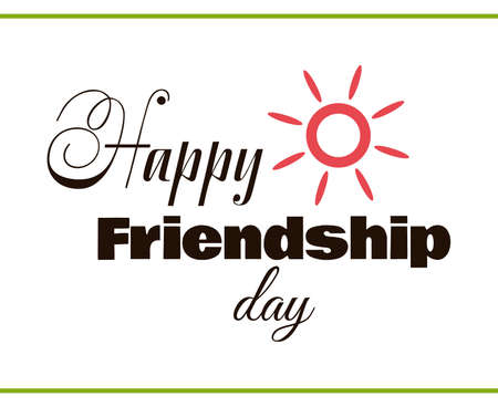Label with congratulation on white background. Happy friendship day. illustration.