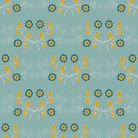 Seamless pattern with hand drawn blue flowers and leaves on blue background. Doodle design. Vector illustration.