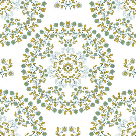 Seamless pattern with  blue flowers and green leaves. Doodle design. illustration.