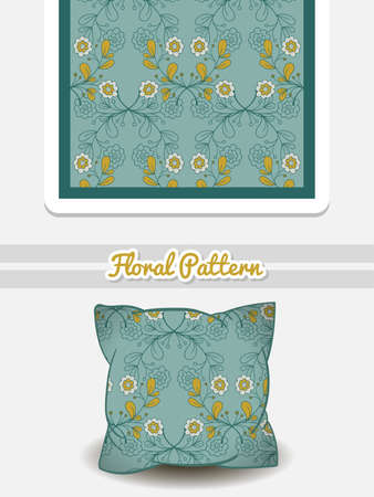 romance bed: pillow with seamless pattern made from flowers. illustration. Can be used for textile. Illustration