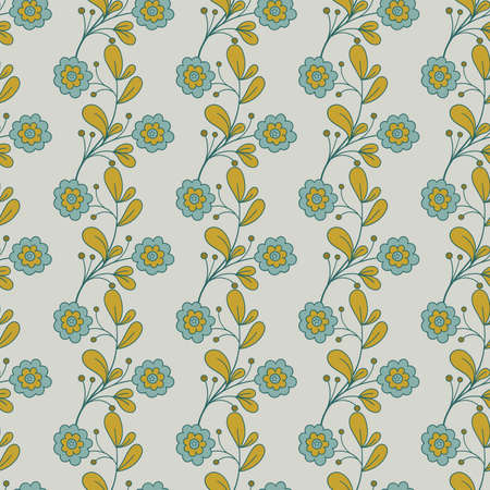 Seamless pattern with  blue flowers and leaves on gray background. Doodle design. illustration.