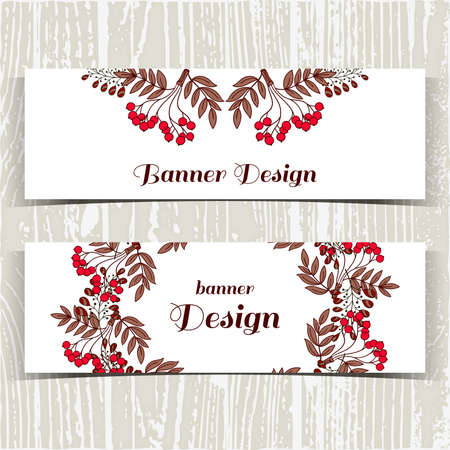 red berries: Set of banners with hand drawn red berries on white background. Vector illustration.