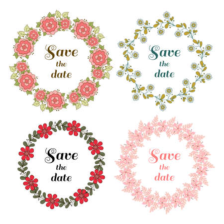 Set of wreaths made from different doodle flowers and leaves. Can be used for design of wedding invitation.
