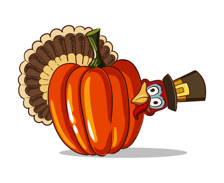 Thanksgiving illustration of cartoon turkey and big pumpkin isolated on white background.