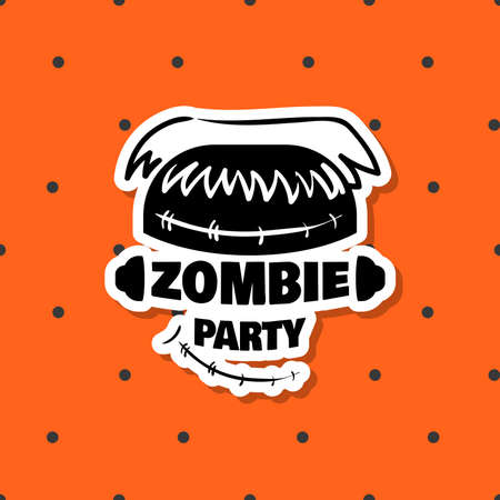Halloween sticker. Black sticker isolated on orange background. Element of design for Halloween. Vector illustration