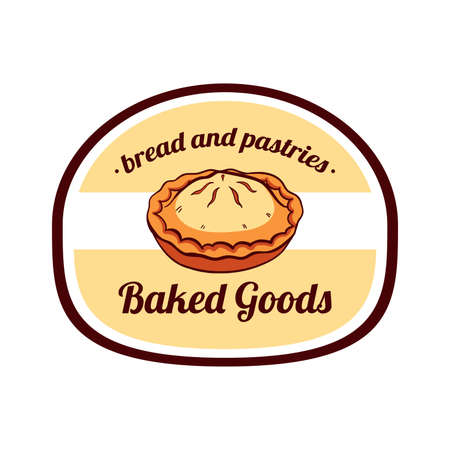 Sticker with drawn meat pie isolated on white background. Can be used for design of bakery or breadshop. illustration