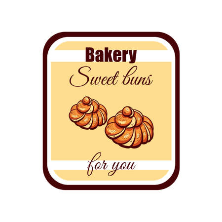 bagels: Sticker with drawn bagels isolated on white background. Can be used for design of bakery or breadshop. illustration Illustration