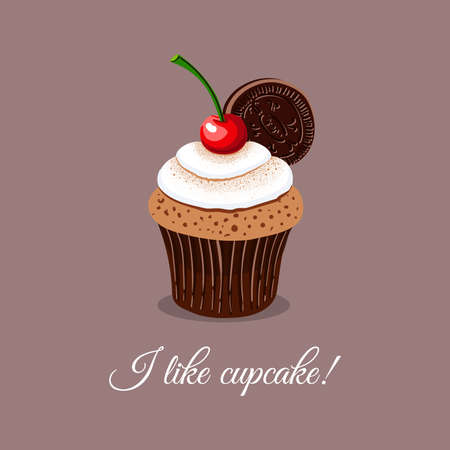 drawn cherry cupcake with message I like cupcake. Can be used for design of bakery or for cafe. illustation Illustration