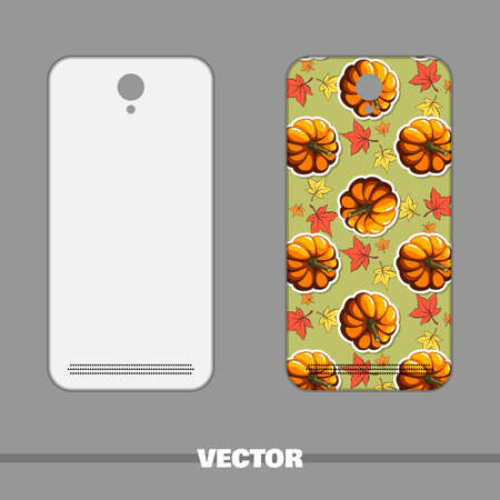 autumnal: Phone cover with bright autumnal pattern. illustration.