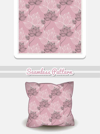 romance bed: Hand drawn pillow with seamless pattern made from hand drawn flowers. Vector illustration. Can be used for textile. Illustration