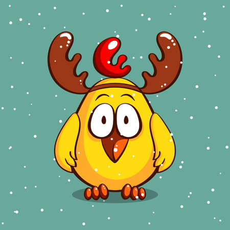 Funny cartoon chicken with antlers on snowy background. Vector illustration Illustration