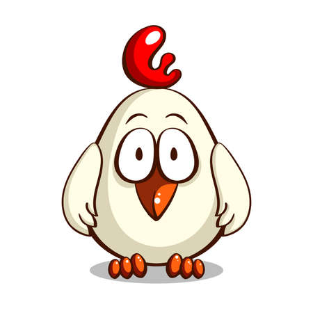 Funny cartoon white chicken isolated on white background. Vector illustration