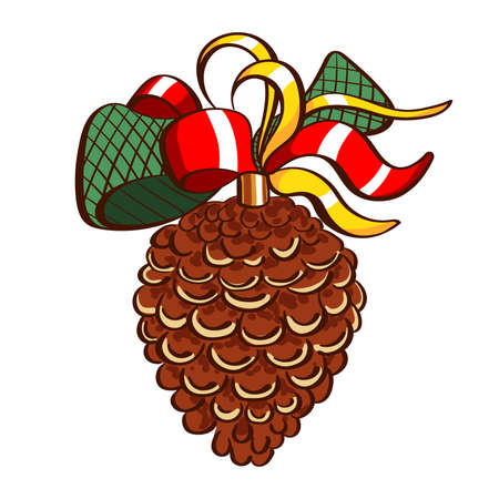 Christmas decoration. Hand drawn pine cone with bow ioslated on white background. Vector illustration