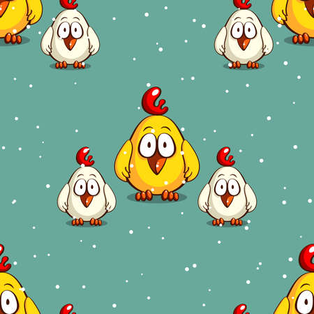 Seamless pattern made from funny cartoon chicks on snowy background. Vector illustration Illustration