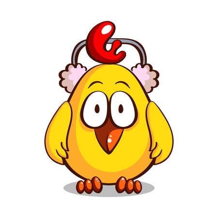 Funny cartoon yellow chicken in earmuffs isolated on white background. Vector illustration Stock Photo