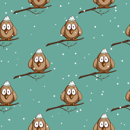 Seamless pattern made from funny cartoon sparrows on snowy background. Vector illustration