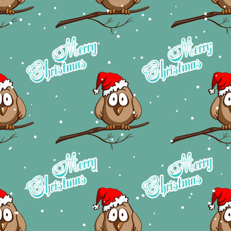 sparrows: Seamless pattern made from funny cartoon sparrows in santas hat on snowy background. Vector illustration
