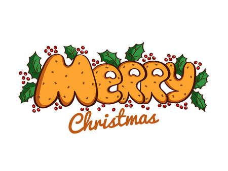 Greeting card. Lettering Merry Christmas on white background. Vector illustration