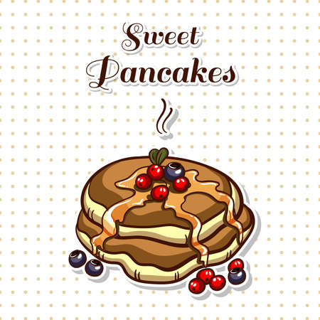 Hand drawn sticker. Cartoon stack of pancakes with syrup and berries. Series of pancakes with various ingredients. Vector illustration