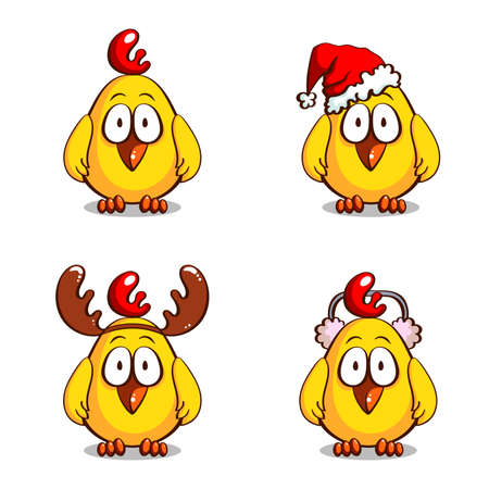 personages: Collection of christmas personages. Various funny cartoon chicks isolated on white background. Vector illustration. Can be used for design of greeting cards, invitations, leaflets and banners