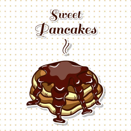 Hand drawn sticker. Cartoon stack of pancakes with chocolate. Series of pancakes with various ingredients. Vector illustration Illustration