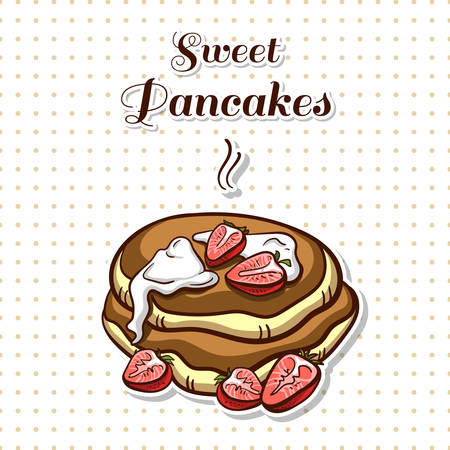 Hand drawn sticker. Cartoon stack of pancakes with strawberry and cream. Series of pancakes with various ingredients. Vector illustration Illustration