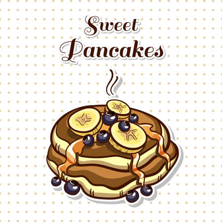 Hand drawn sticker. Cartoon stack of pancakes with syrup, banana and blueberry. Series of pancakes with various ingredients. Vector illustration