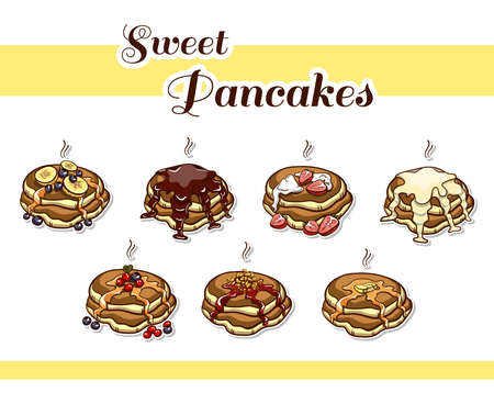 Set of hand drawn stickers. Cartoon stacks of pancakes with various ingredients. Vector illustration Illustration