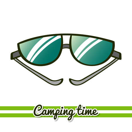 Hand drawn sunglasses isolated on white background. One image of series Camping time. Vector illustration