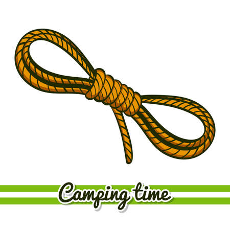 Hand drawn rope isolated on white background. One image of series Camping time. Vector illustration