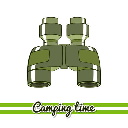 Hand drawn binoculars isolated on white background. One image of series Camping time. Vector illustration Illustration