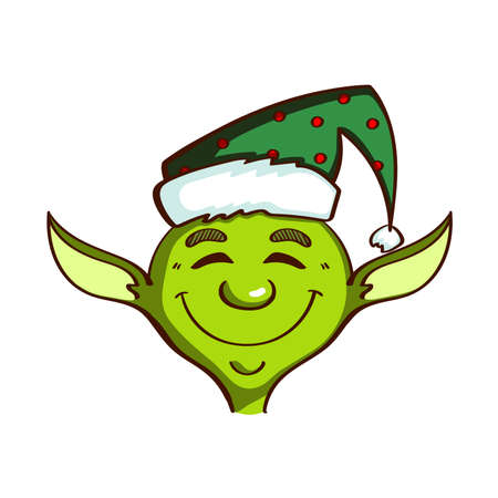 santa helper: Cartoon green elf isolated on white background. Can be used for congratulation card, banner, flayer, leaflet, poster. Vector illustration