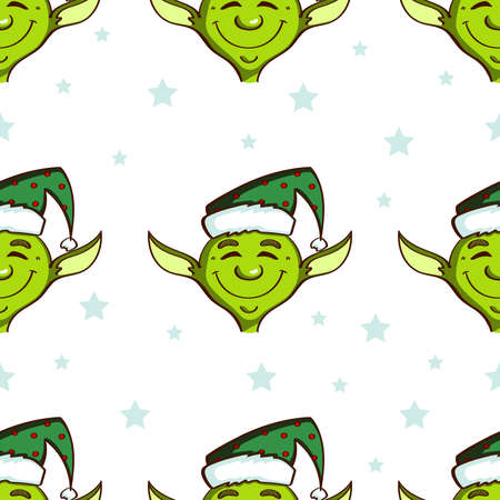 Seamless pattern made from hand drawn cartoon elves and blue stars on white background. Vector illustration