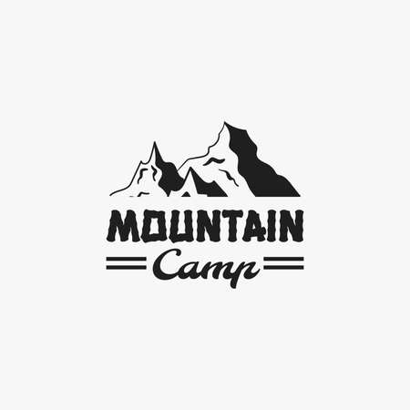 extremity: Monochrome camping badge. Logotype isolated on light gray background. Vector illustration Illustration
