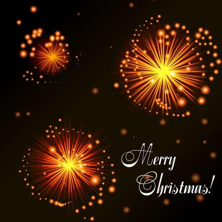 banger: Christmas card. Orange fireworks on dark background. Abstract background for your design. Vector illustration Illustration