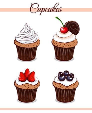 Collection of hand drawn cupcakes with different ingredients on white background. Can be used for cafe, bakery or restaurant design. Vector illustration