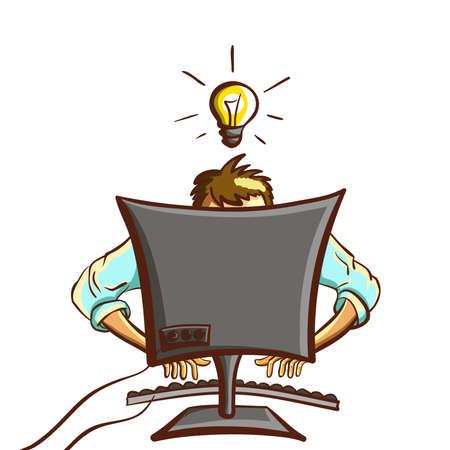 Isolated Cartoon Programmer Illustration