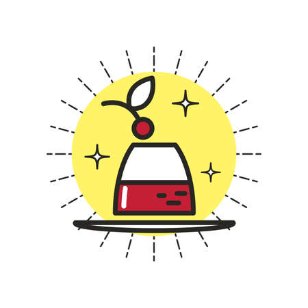 gelatin: Linear Icon Dessert Illustration