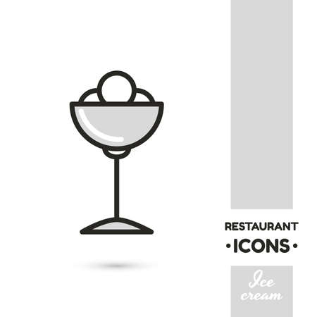 Monochrome linear icon. Stylized ice cream. One image of series Restaurant icons. Vector illustration. Can be used for applications and websites