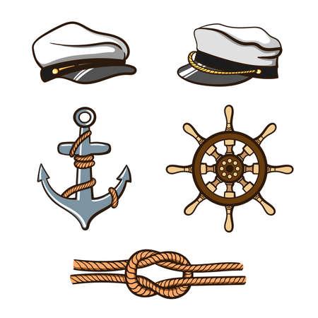 Nautical Icons Set Stock Photo