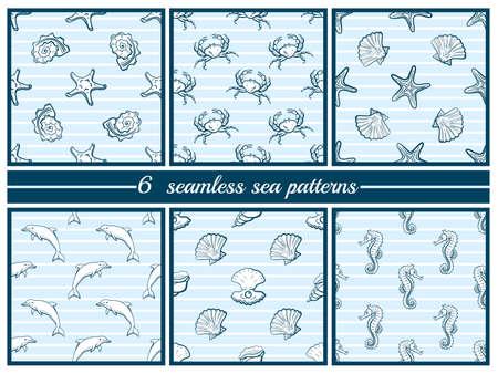 Set van naadloze zee patronen Stock Illustratie