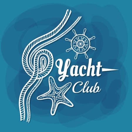 White Lettering Yacht Club Rope Illustration
