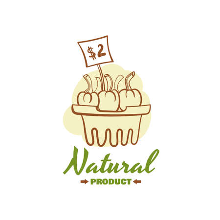 Natural product. Vector illustration of color emblem of organic natural fresh products Illustration